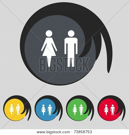 WC sign icon. Toilet symbol. Male and Female toilet. Set colourful buttons. Vector