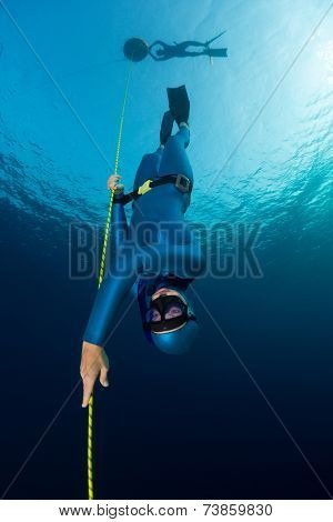 Lady free diver descending along the rope. Free immersion discipline