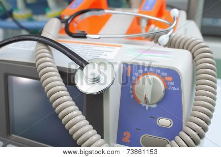 Defibrillator And Stethoscope