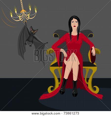 Ledy in red dress