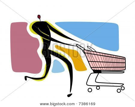 Human With Empty Shopping Cart