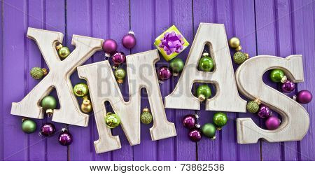 Xmas Letters With Christmas Baubles