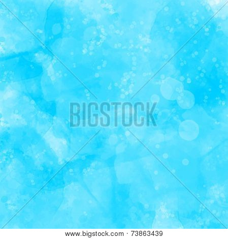 Blue watercolor painted grunge texture. Artistic vector background with spots, blots and stains.