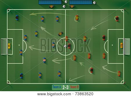 Football Field with Soccer Players