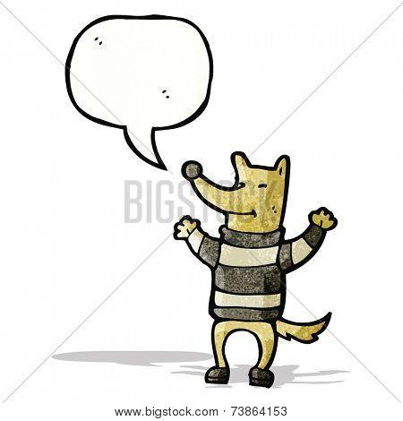 cartoon cool french dog