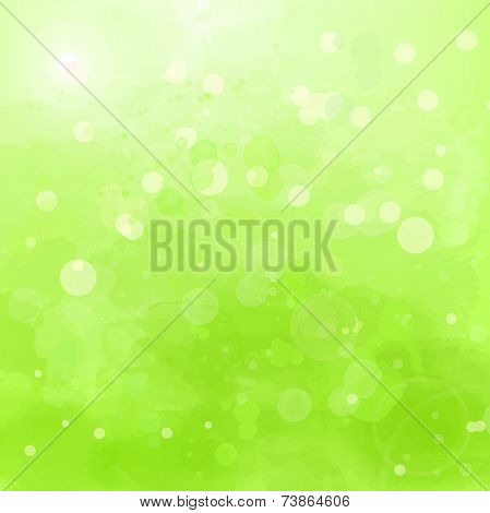 Abstract green background with watercolor splashes and swashes
