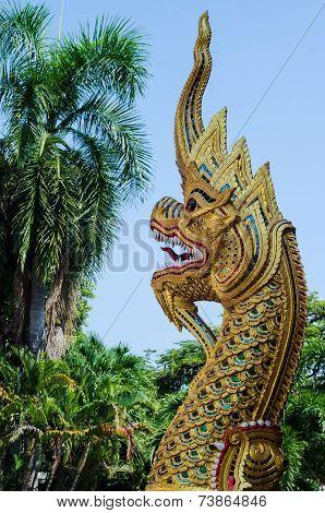 The Gold Naga In Thai Temple