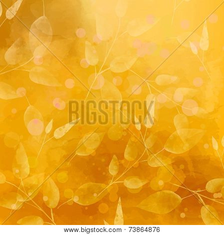 Orange vector autumn background with leaves pattern. Watercolor artistic texture.