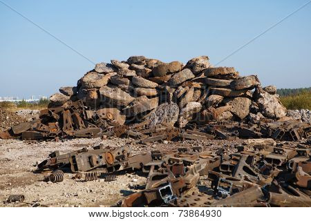scrap metal heap outdoors