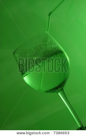 Green bubbles and straw