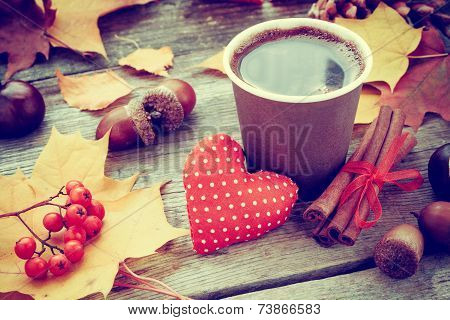 Warming Coffee Cup, Red Heart And Autumn Still Life