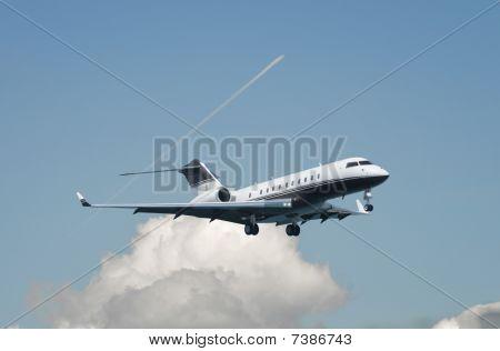 Large Double Engine Business Jet Landing