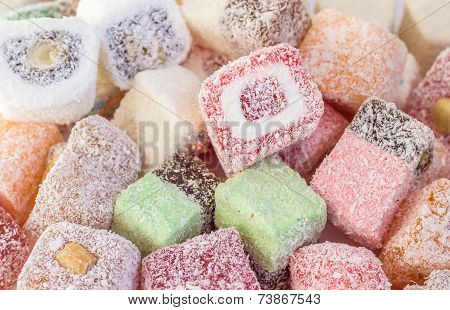Variety of Turkish delight background