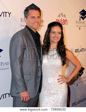LOS ANGELES - OCT 14:  Scott Sveslosky, Danica McKellar at the Fulfillment Fund Stars Benefit Gala 2014 at Beverly Hilton Hotel on October 14, 2014 in Beverly Hills, CA
