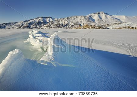 Pack ice in a bay at Spitsbergen.