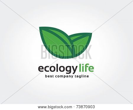 Abstract green nature leafs care vector logo icon concept. Logotype template for branding