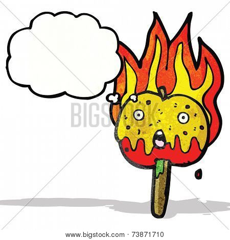 flaming hot toffee apple cartoon