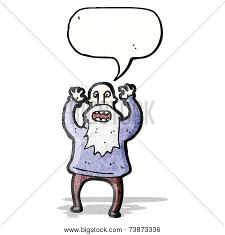 shouting old man cartoon
