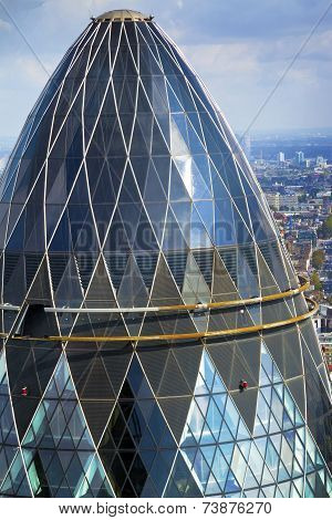 Top view of Gherkin building in London