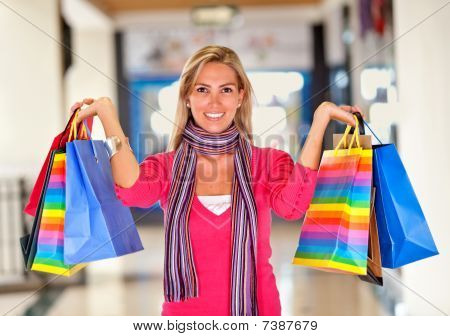 Beautiful Shopping Woman Smiling