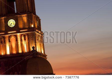 Church Clock Tower At Night