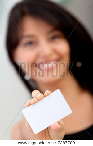 Woman Displaying A Business Card