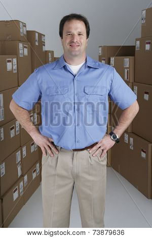 Male warehouse worker in warehouse