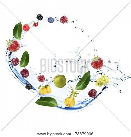 Fresh fruit, berries and green leaves with water splash, isolated on white