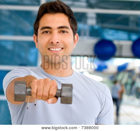 Gym Man With Free-weights