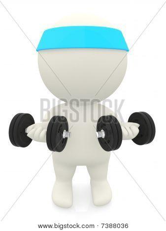 3D persona levantar pesas