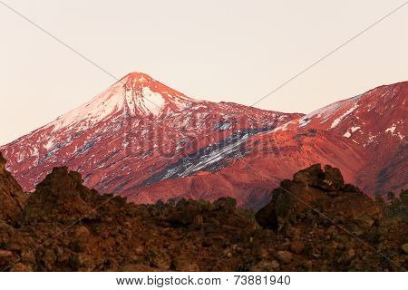 Tenerife - Teide volcano landscape. Beautiful nature scenery at from Teide national park with snowy mountain peak on Canary Islands, Spain.