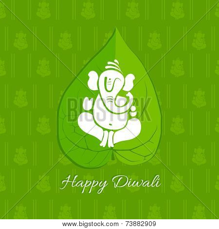 Vector betel leaf background with lord ganesh