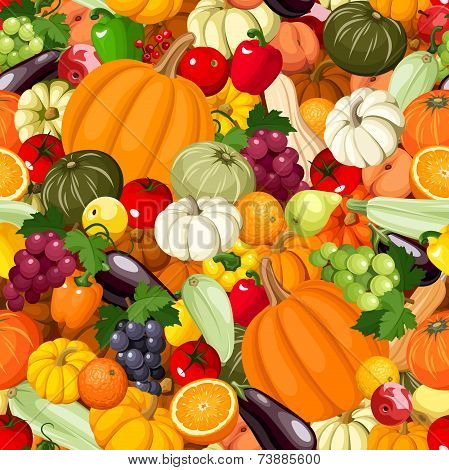 Seamless background with various vegetables and fruits. Vector illustration.
