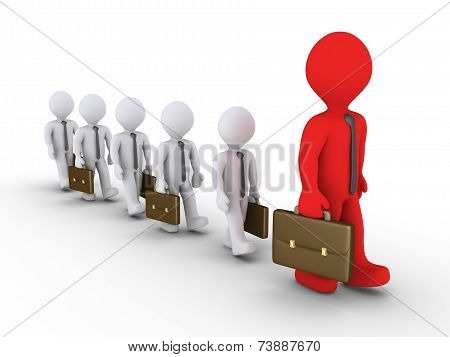 Businessmen Following The Big Leader