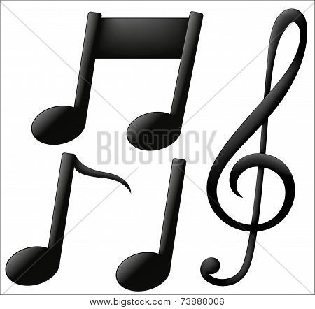 Musical Icons On White Background
