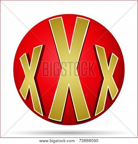Xxx Icon In The Form Of A Red Ball