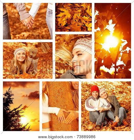 Picture of autumn fun outdoor, collage of autumnal leisure time outside, happy couple in autumnal park, bright yellow sun shine, beautiful fall forest, orange sunset, love concept in autumn