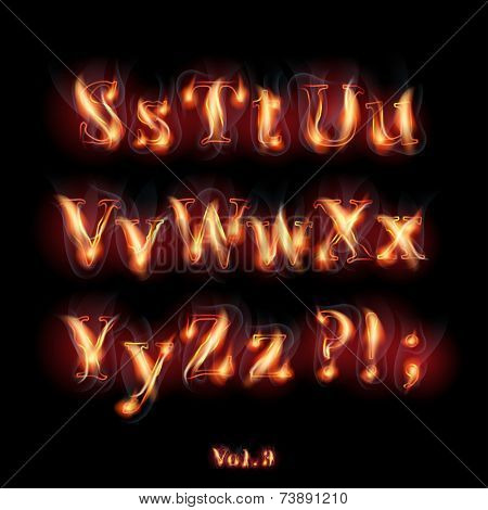 Fire Burning Latin Alphabet Letters. Set Vol.3 S-Z
