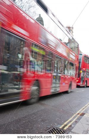Red London Buses Moving