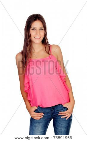 Attractive young girl with jeans isolated on a white backgorund