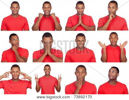 Latin man with different gestures. Sequence of many photos isolated on white background
