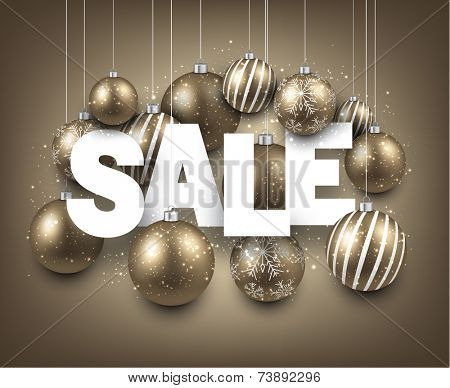 White sale sign with golden christmas baubles. Vector holiday illustration.