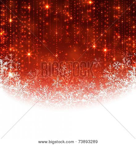 Red winter abstract background. Christmas background with snowflakes. Vector.