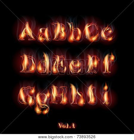 Fire Burning Latin Alphabet Letters. Set Vol.1 A-I