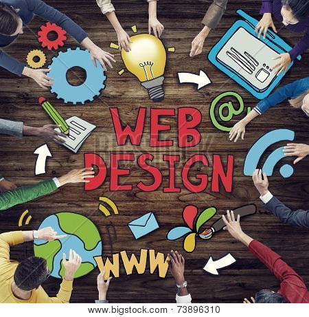 Group of People Around Word Web Design