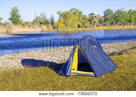 Camping by the beautiful river