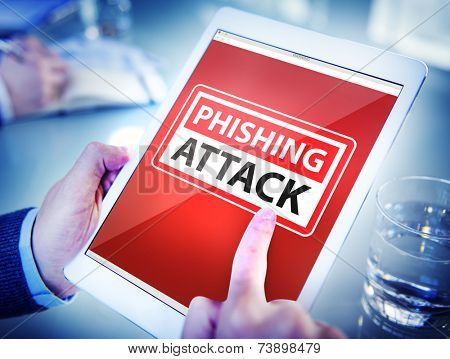 Hands Holding Digital Tablet Phishing Attack