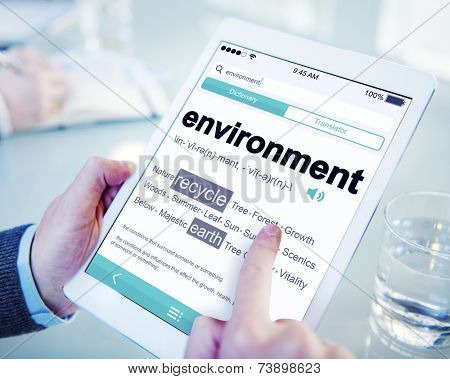 Man Reading the Definition of Environment