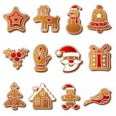 foto of ginger bread  - Gingerbread christmas cookies set icons symbols deesert - JPG