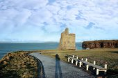 Tourist Photographers Shadow And Ballybunion Castle Ruin View poster